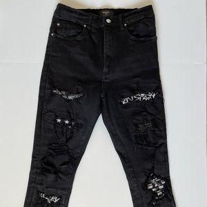 Amiri Art Patch Black Jeans Women's Size 28